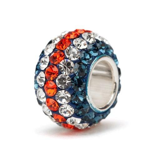 Navy Orange and Clear Stripe Crystal Charm