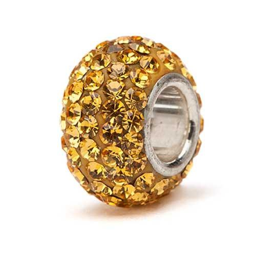 Gold Crystal Bead - Silver Core