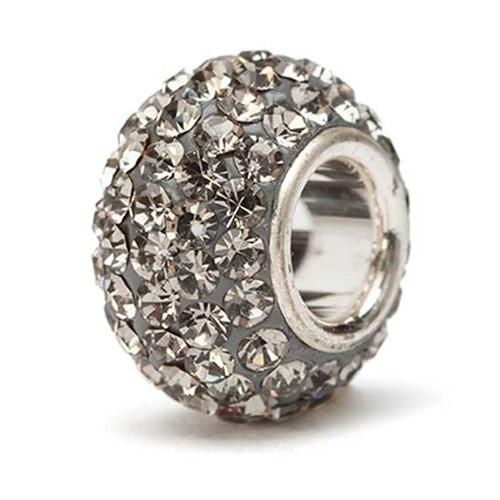 Grey Crystal Bead - Silver Core