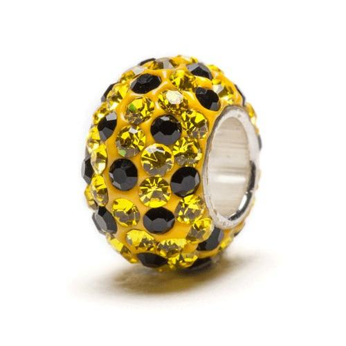 Yellow and Black Spotted Crystal Bead Charm