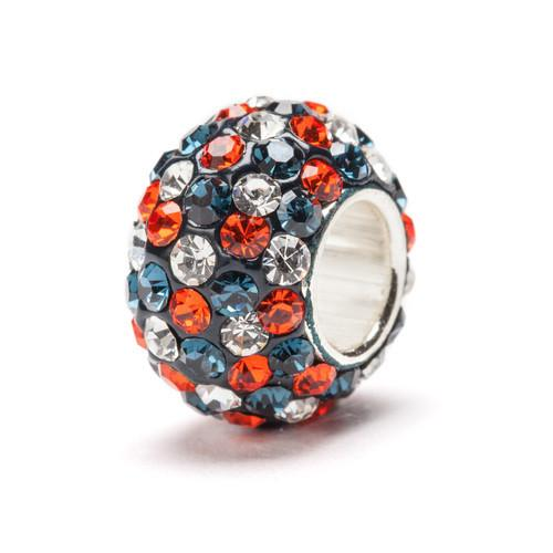 Blue, Orange and Clear Spotted Crystal Bead Charm