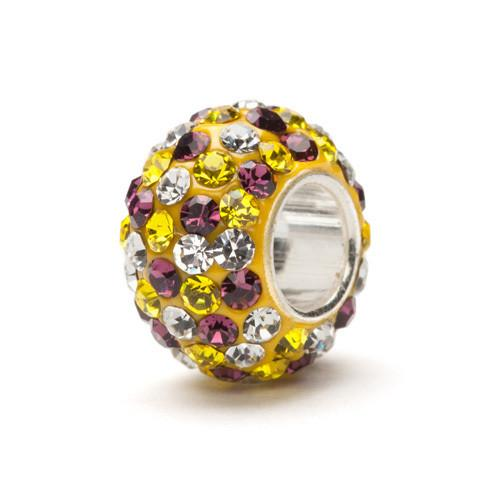 Yellow, Purple and Clear Spotted Crystal Charm