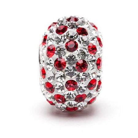 Clear With Crimson Spotted Crystal Charm Bead
