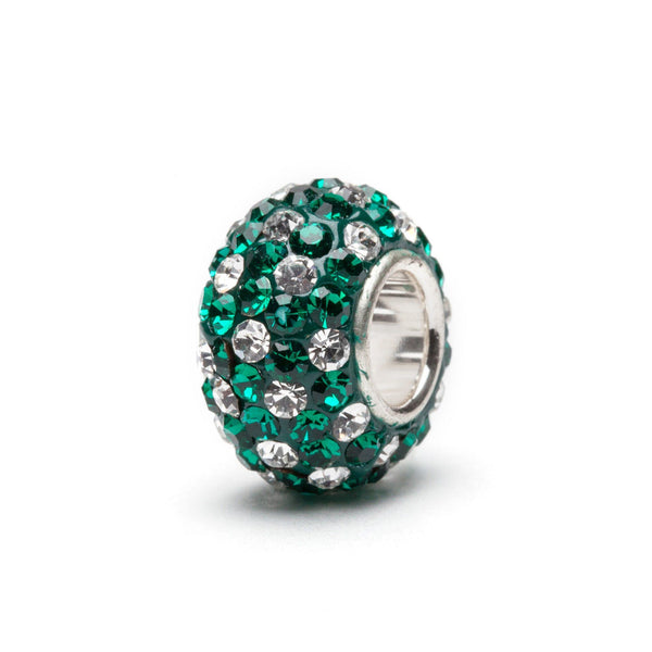 Green and White Crystal Charm Bead
