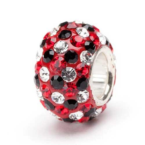 Red, Black and Clear Crystal Bead<br/>silver