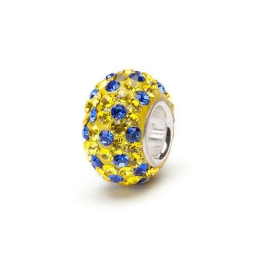 Yellow and Blue Crystal Bead<br/>silver core