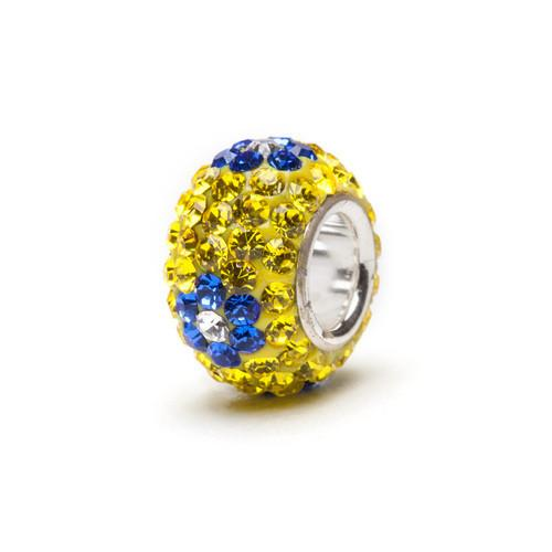 Yellow and Blue Crystal Flower Charm
