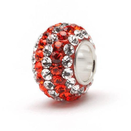 Red Clear And Black Crystal Bead Charm