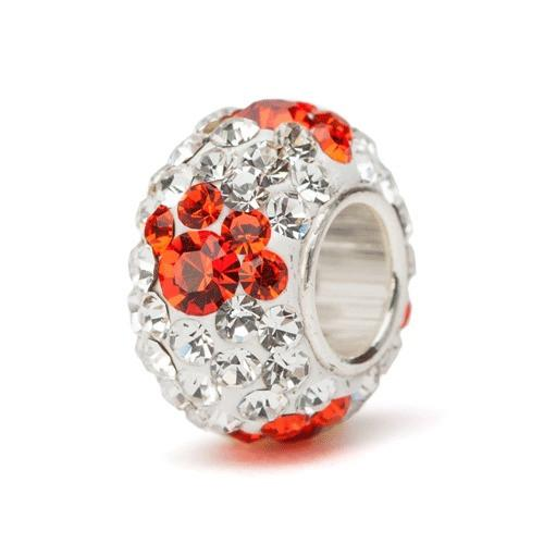 Clear and Orange Paw Crystal Bead Charm - Fits Pandora