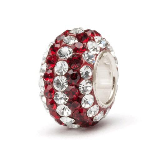 Crimson With Clear Stripe Crystal Charm Bead