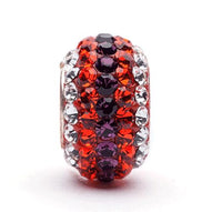 Orange, Purple and Clear Striped Crystal Bead Charm