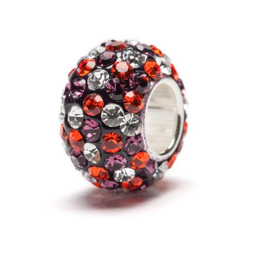 Purple, Orange and Clear Spotted Crystal Bead Charm