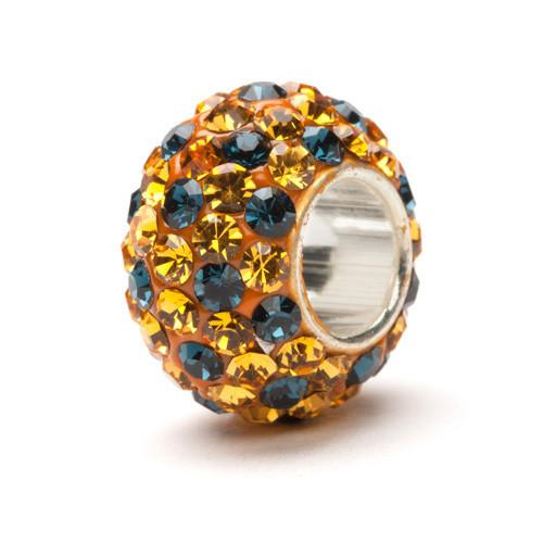 Gold and Navy Spotted Crystal Bead Charm