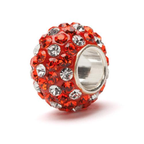 Orange and Clear Spotted Crystal Bead Charm Set