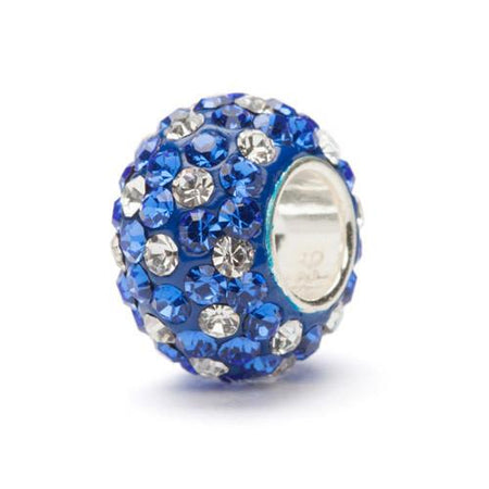 Navy With Clear Spotted Crystal Charm Bead