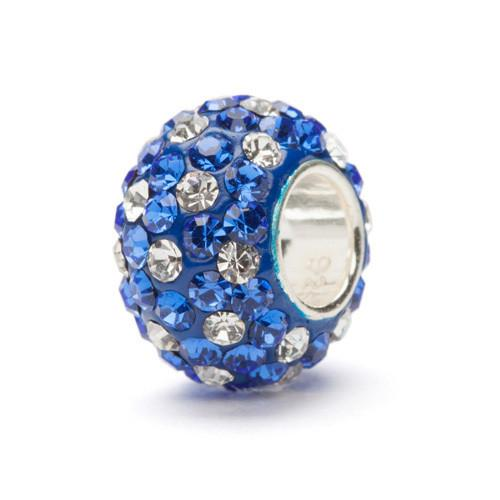 Blue and Clear Spotted Crystal Bead Charm