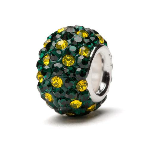 Green and Yellow Spotted Crystal Bead Charm - For Bracelet or Necklace