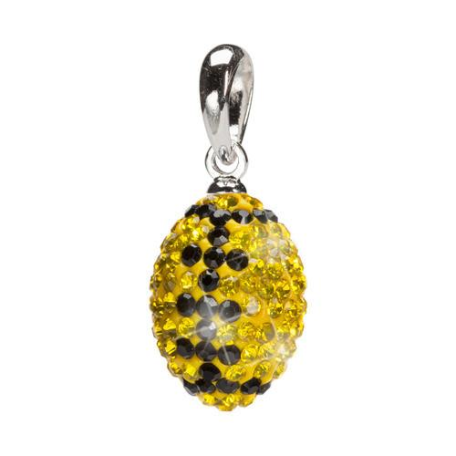 Yellow and Black Sterling Silver Crystal Football Pendant Necklace