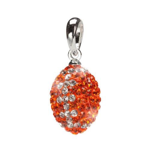 Orange and Clear Striped Crystal Football Charm Pendant