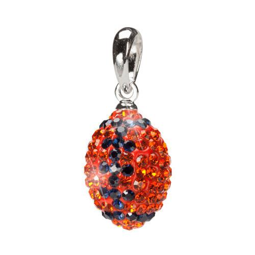 Orange and Navy Crystal Football Charm Pendant Jewelry Set