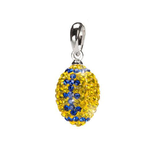 Yellow with Blue Crystal Football Charm Pendant Necklace
