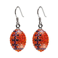 Orange with purple Crystal Football Earrings