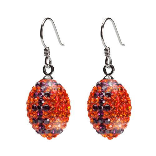 Orange and Navy Crystal Football Pendant Necklace & Earrings