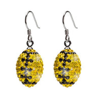 Yellow and Black Crystal Football Earrings