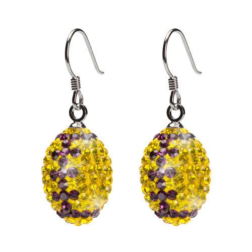 Yellow and Purple Crystal Football Charm Earrings