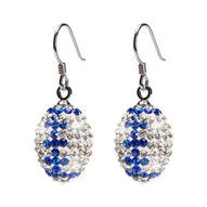 Clear and Blue Crystal Football Earrings
