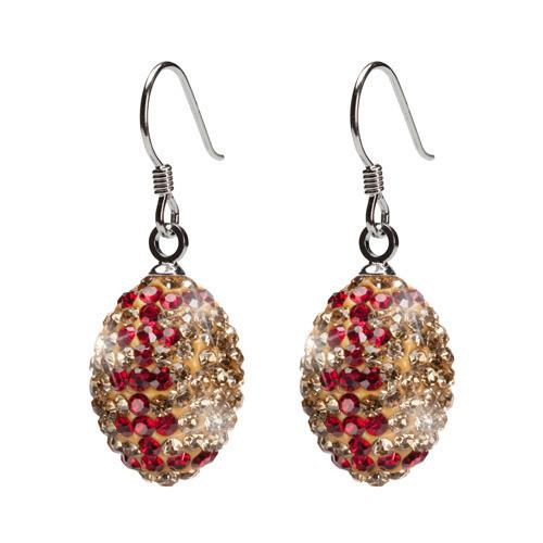 Gold and Crimson Crystal Football Earrings