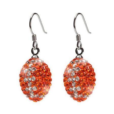 Orange and Navy Crystal Football Earrings