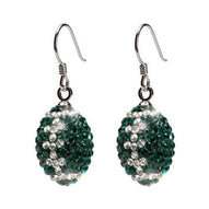 Green and Clear Crystal Football Earrings