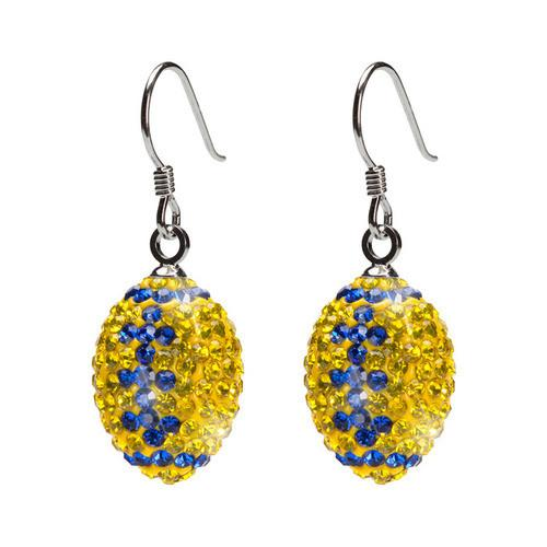 Yellow and Blue Crystal Football Earrings