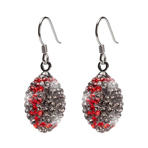 Gray and Red Crystal Football Earrings