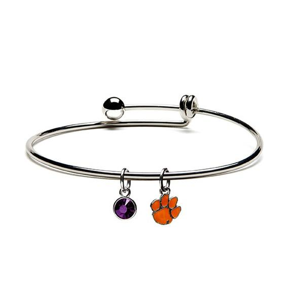 Clemson Tiger Paw Charm Dangle Bracelet