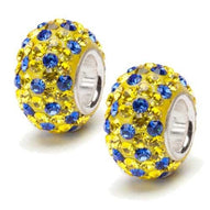 Yellow and Blue Spotted Austrian Crystal Bead Charm Set