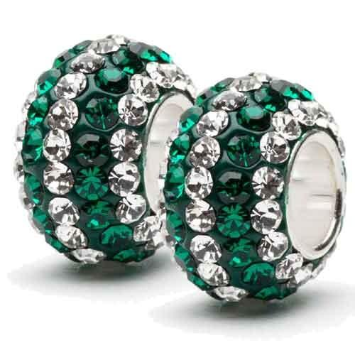 Green with Clear Crystal Stripe Crystal Charms Set of Two