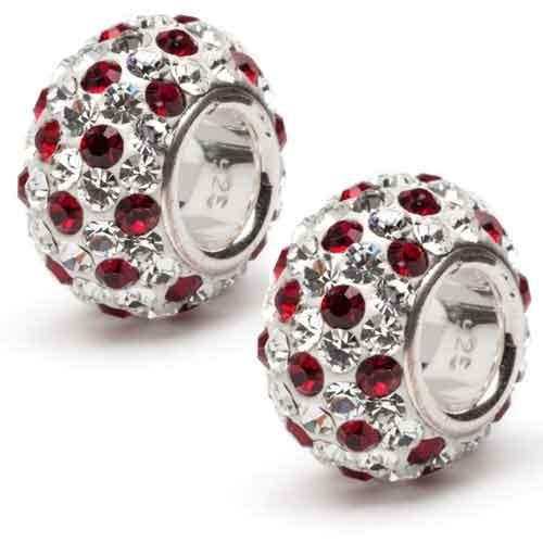 Crimson and Clear Spotted Crystal Charm Set