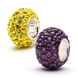 Purple And Yellow Crystal Bead Charm Set Of 2