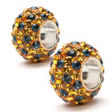 Gold and Navy Spotted Crystal Bead Charm Set