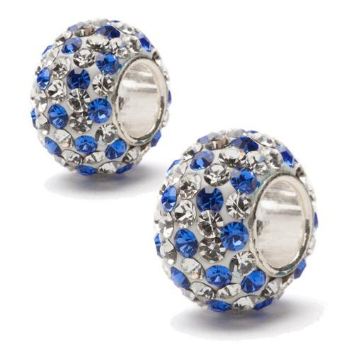 Clear and Blue Spotted Crystal Bead Charm Set