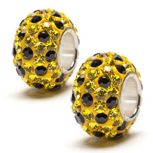 Yellow and Black Spotted Crystal Bead Charm Set