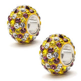 Yellow, Purple and Clear Spotted Crystal Bead Charm Set of Two