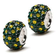 Green with Yellow Spotted Crystal Charm Set of Two