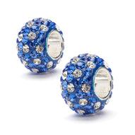 Blue and Clear Spotted Crystal Charm Set of Two - Silver Core