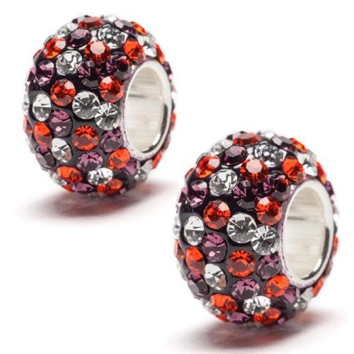 Purple, Orange and Clear Spotted Crystal Charm Set