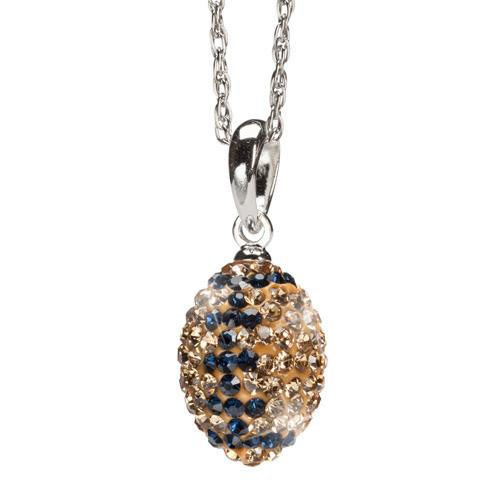 Gold and Navy Crystal Football Necklace