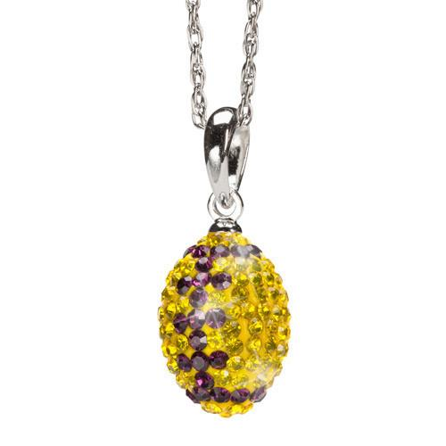 Yellow and Purple Crystal Football Charm Pendant Necklace