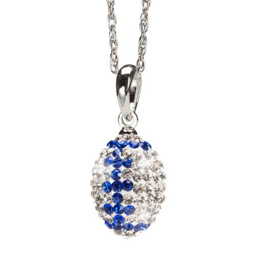 Clear and Blue Crystal Football Charm Pendant Necklace